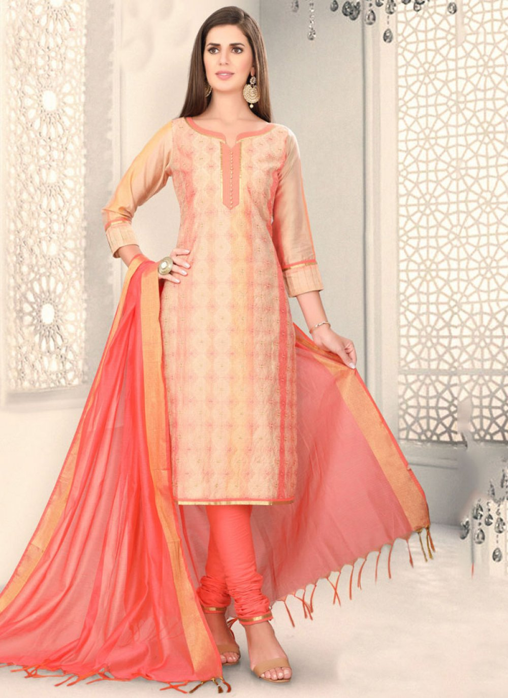 Peach Chanderi Fancy Churidar Designer Suit