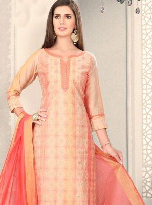 Peach Chanderi Fancy Churidar Designer Suit