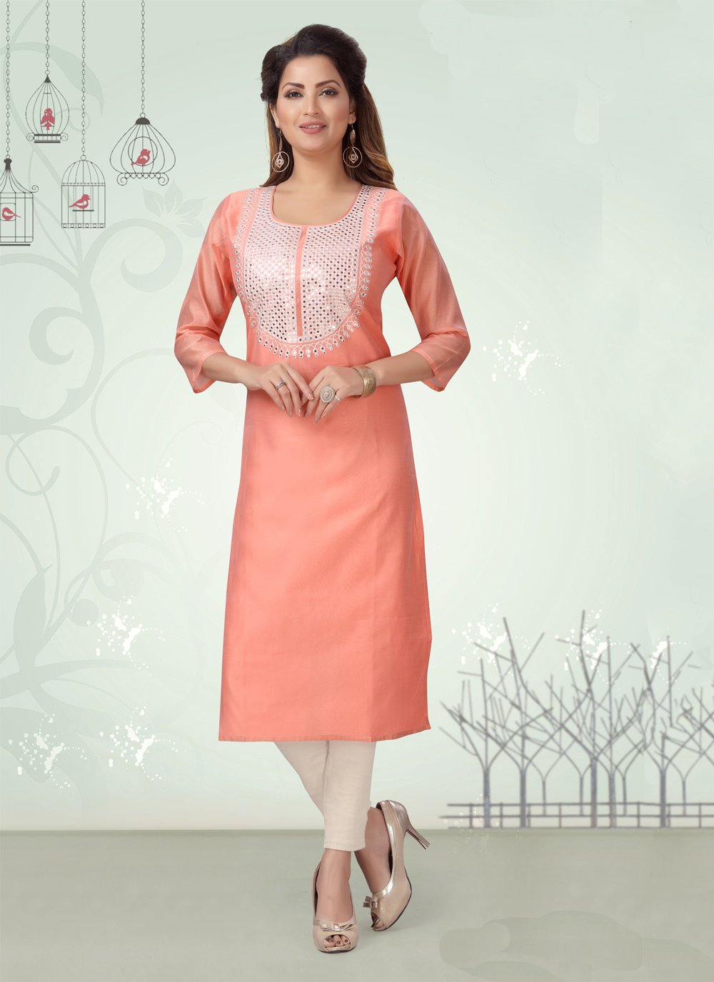 Peach Chanderi Party Wear Kurti