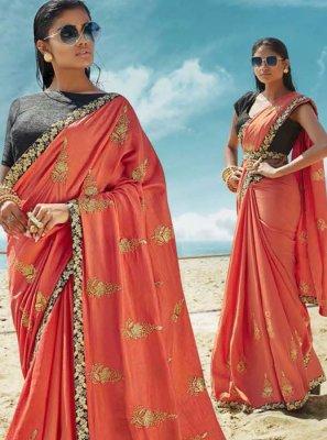 Peach Color Classic Designer Saree