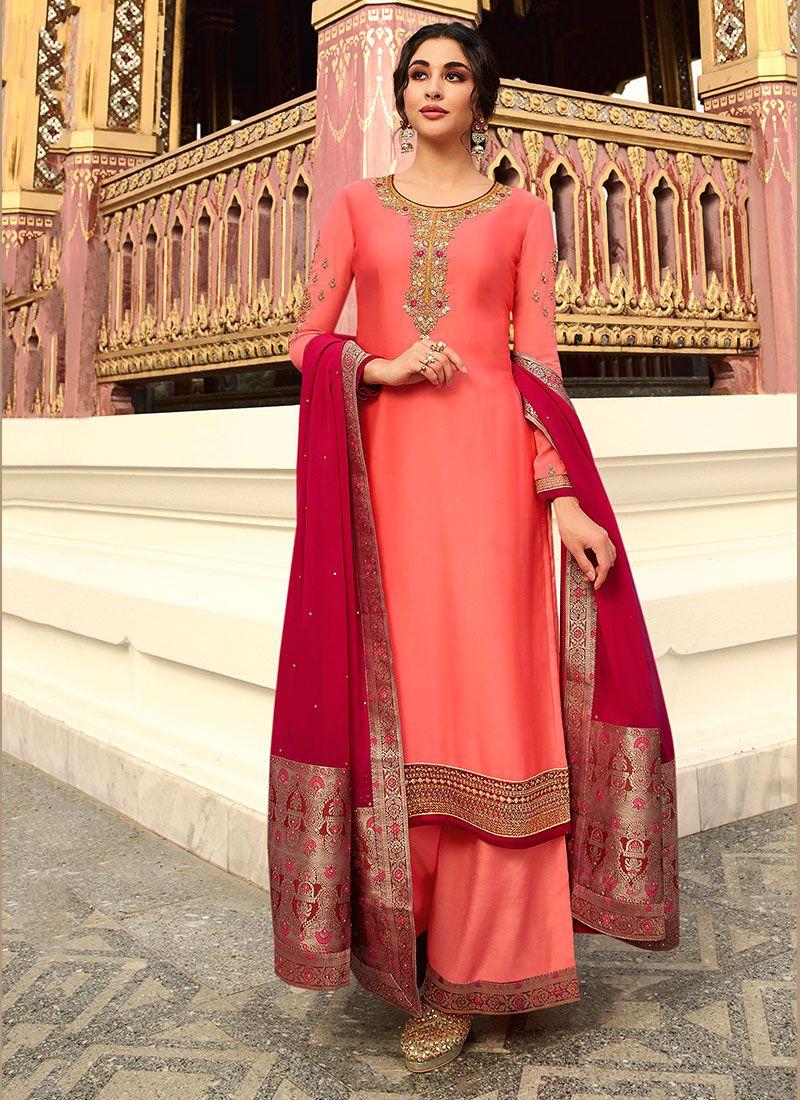Peach Color Designer Palazzo Suit