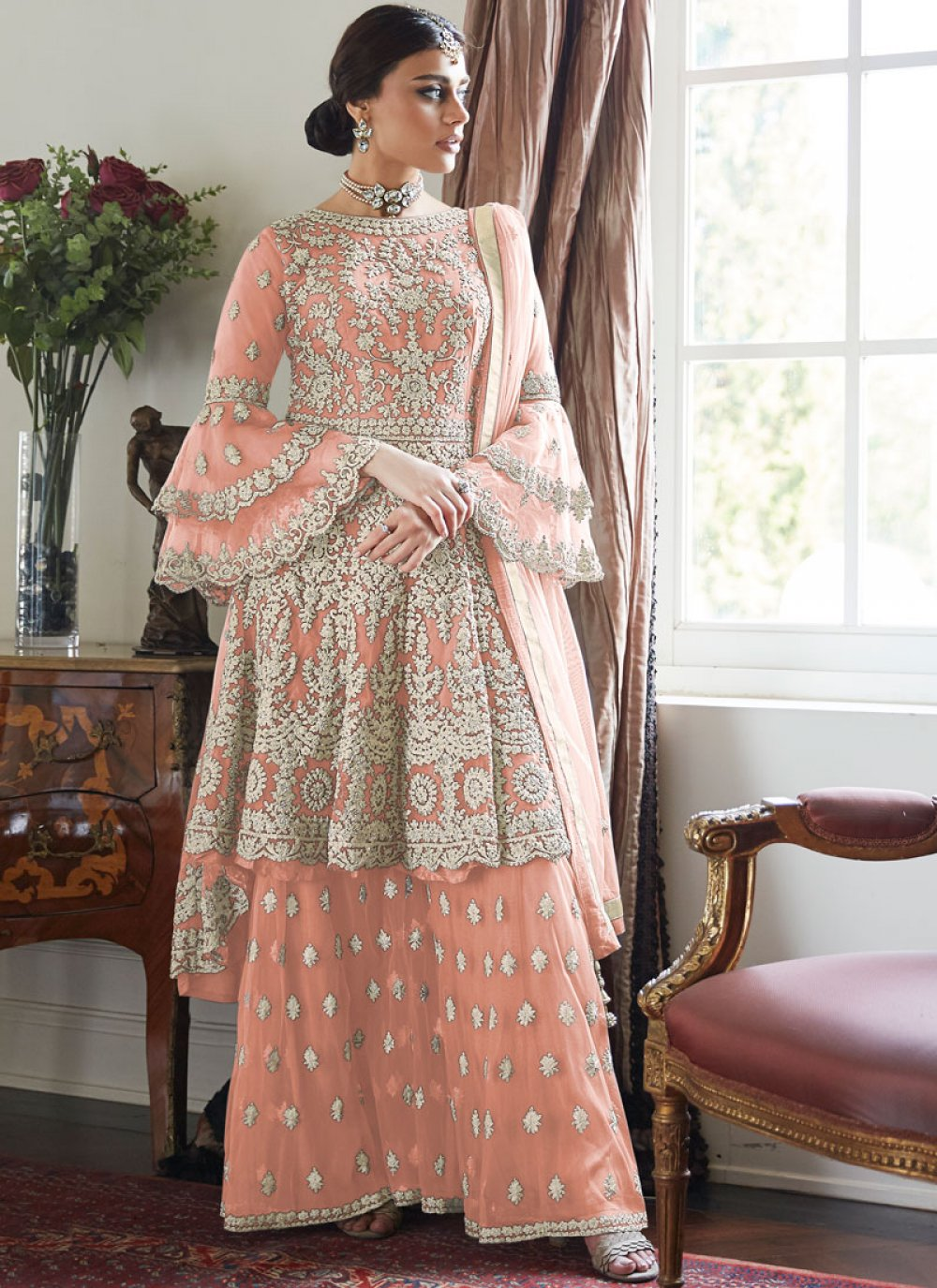 Peach Color Designer Salwar Kameez