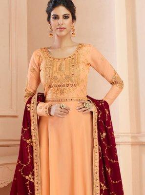 Peach Color Floor Length Anarkali Suit