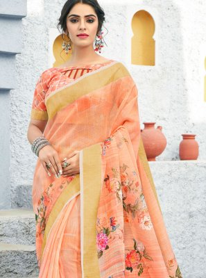 Peach Color Traditional Saree