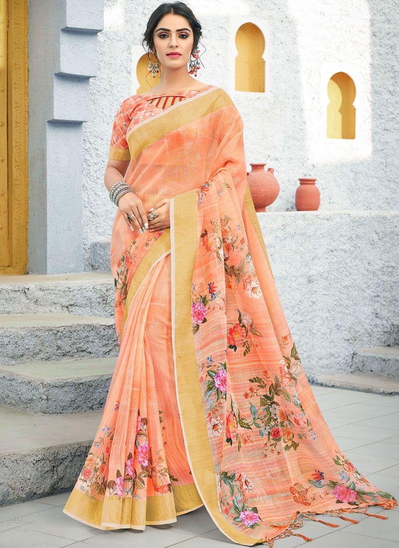 Peach Color Traditional Saree