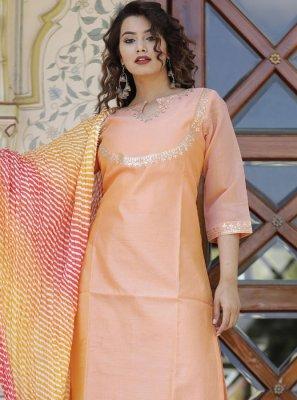 Peach Cotton Aariwork Designer Kurti