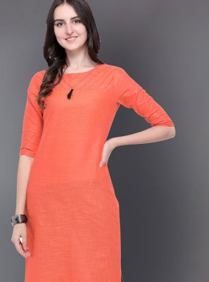 Peach Cotton Casual Kurti