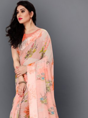 Peach Cotton Casual Saree