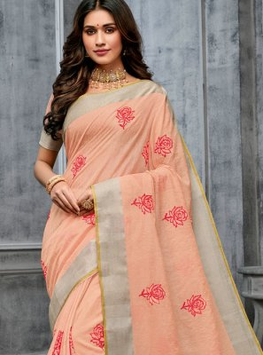 Peach Cotton Classic Designer Saree