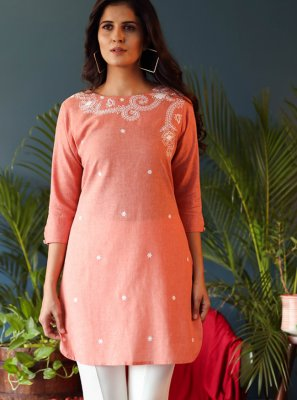 Peach Cotton Festival Casual Kurti
