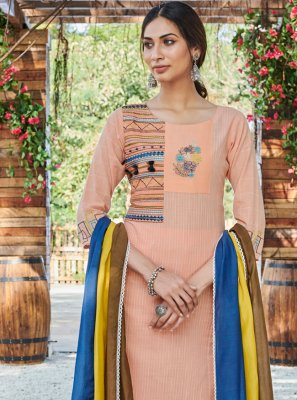 Peach Cotton Palazzo Straight Salwar Suit
