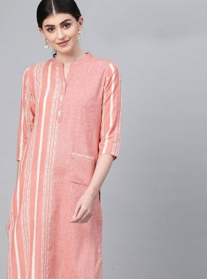 Peach Cotton Print Designer Kurti