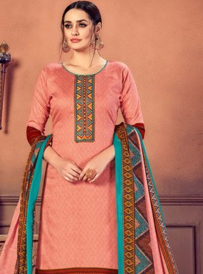 Peach Cotton Salwar Suit