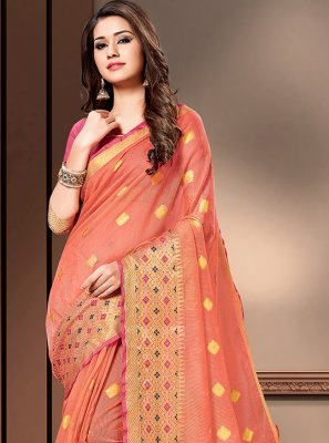 Peach Cotton Silk Classic Saree