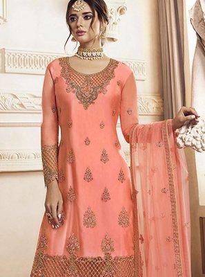 Peach Designer Palazzo Salwar Suit