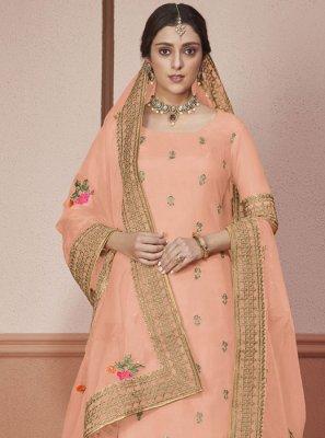 Peach Designer Straight Salwar Kameez