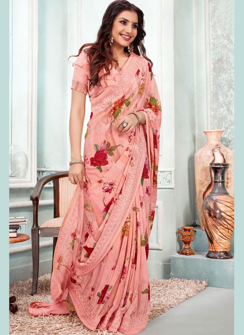 Peach Digital Print Ceremonial Casual Saree