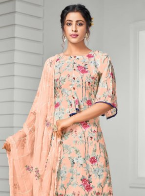 Peach Digital Print Cotton Trendy Salwar Suit