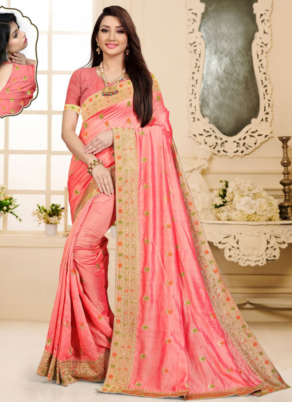 Peach Embroidered Art Silk Saree