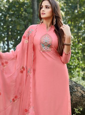 Peach Embroidered Designer Salwar Suit