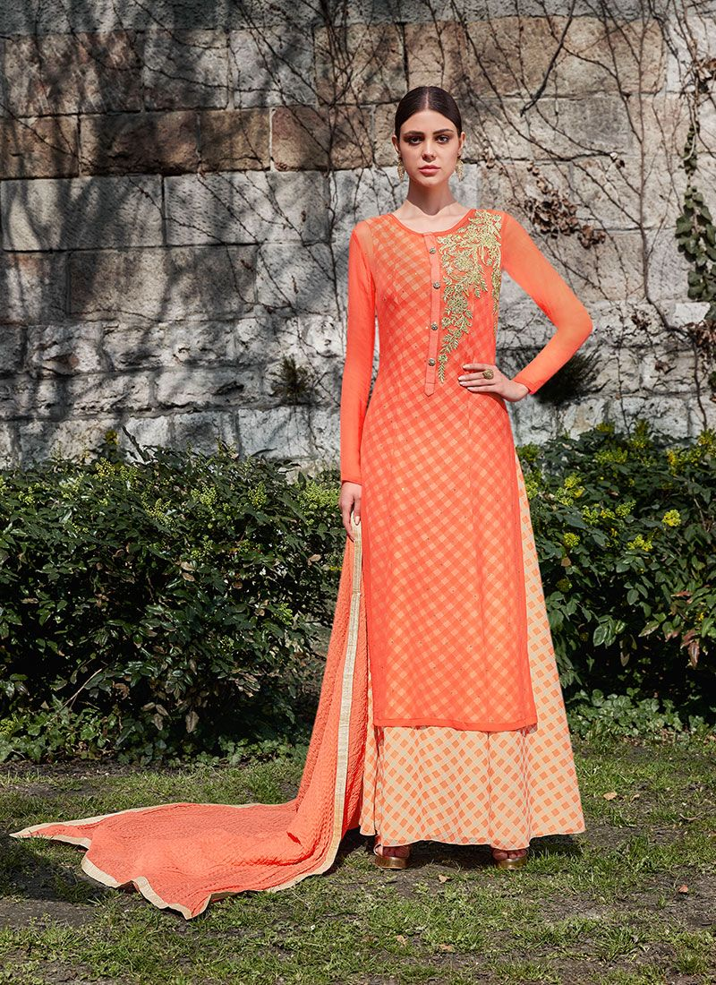 Peach Embroidered Faux Georgette Anarkali Suit