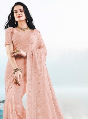 Peach Embroidered Faux Georgette Classic Saree