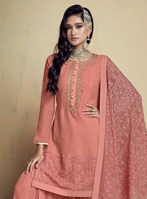 Peach Embroidered Faux Georgette Designer Salwar Kameez