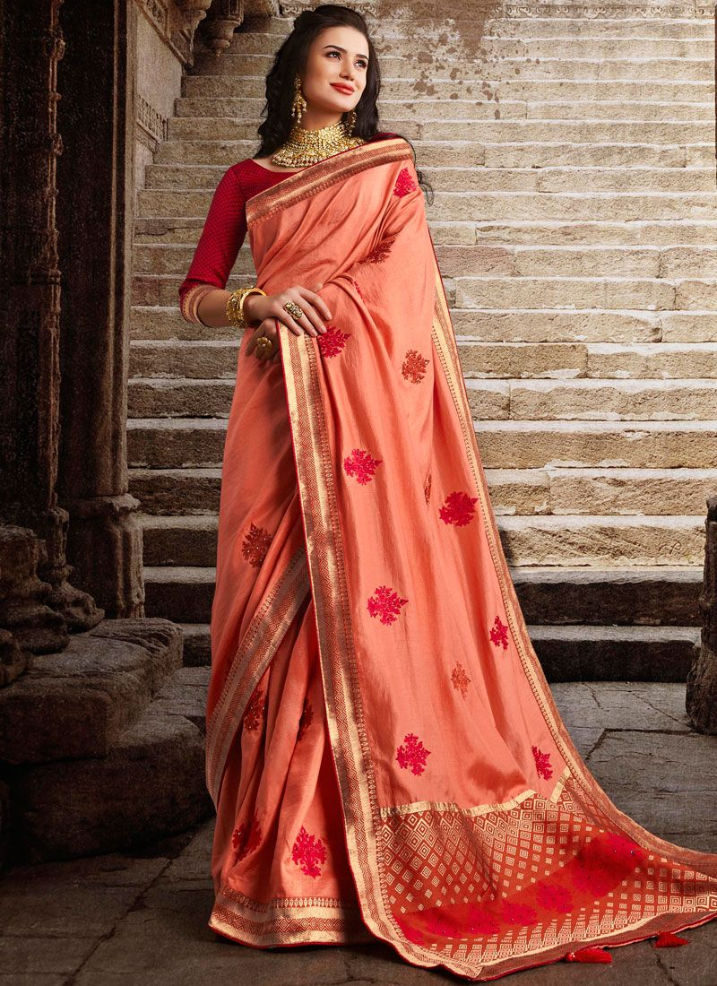 Peach Embroidered Festival Designer Traditional Saree