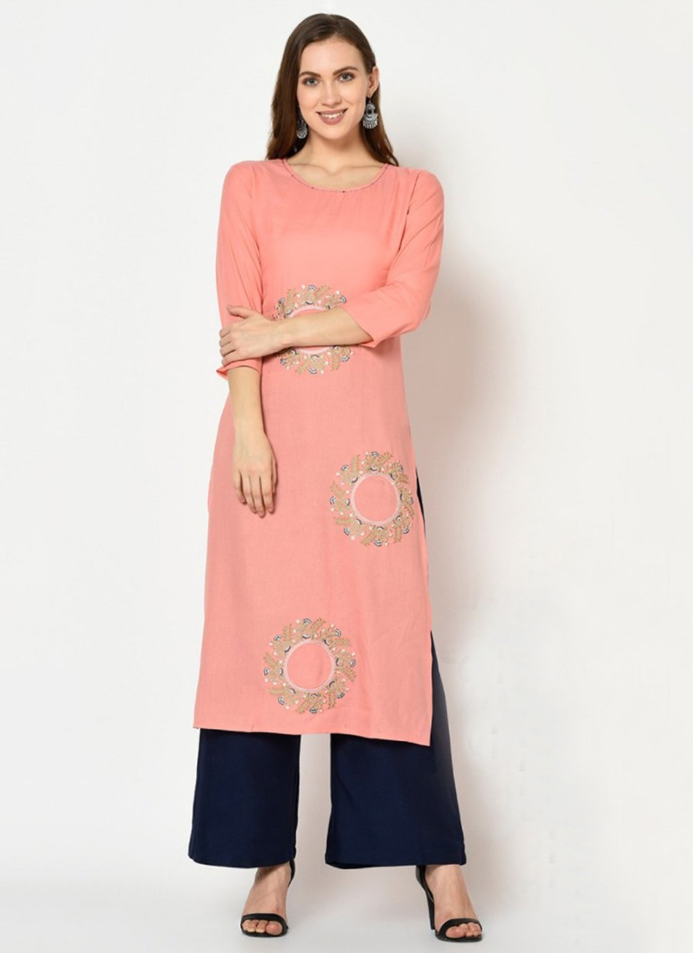 Peach Embroidered Festival Palazzo Suit