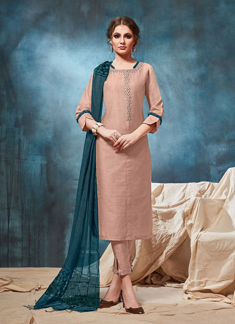 Peach Embroidered Festival Party Wear Kurti