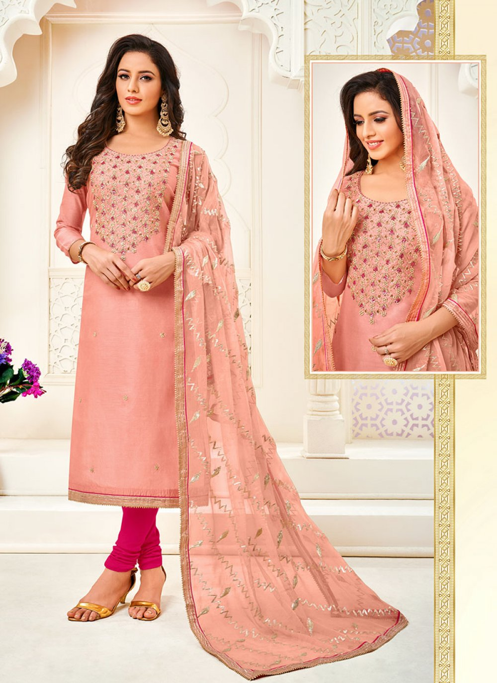 Peach Embroidered Festival Trendy Churidar Salwar Suit