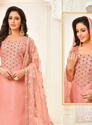 Peach Embroidered Festival Trendy Churidar Salwar Suit