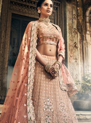Peach Embroidered Georgette A Line Lehenga Choli