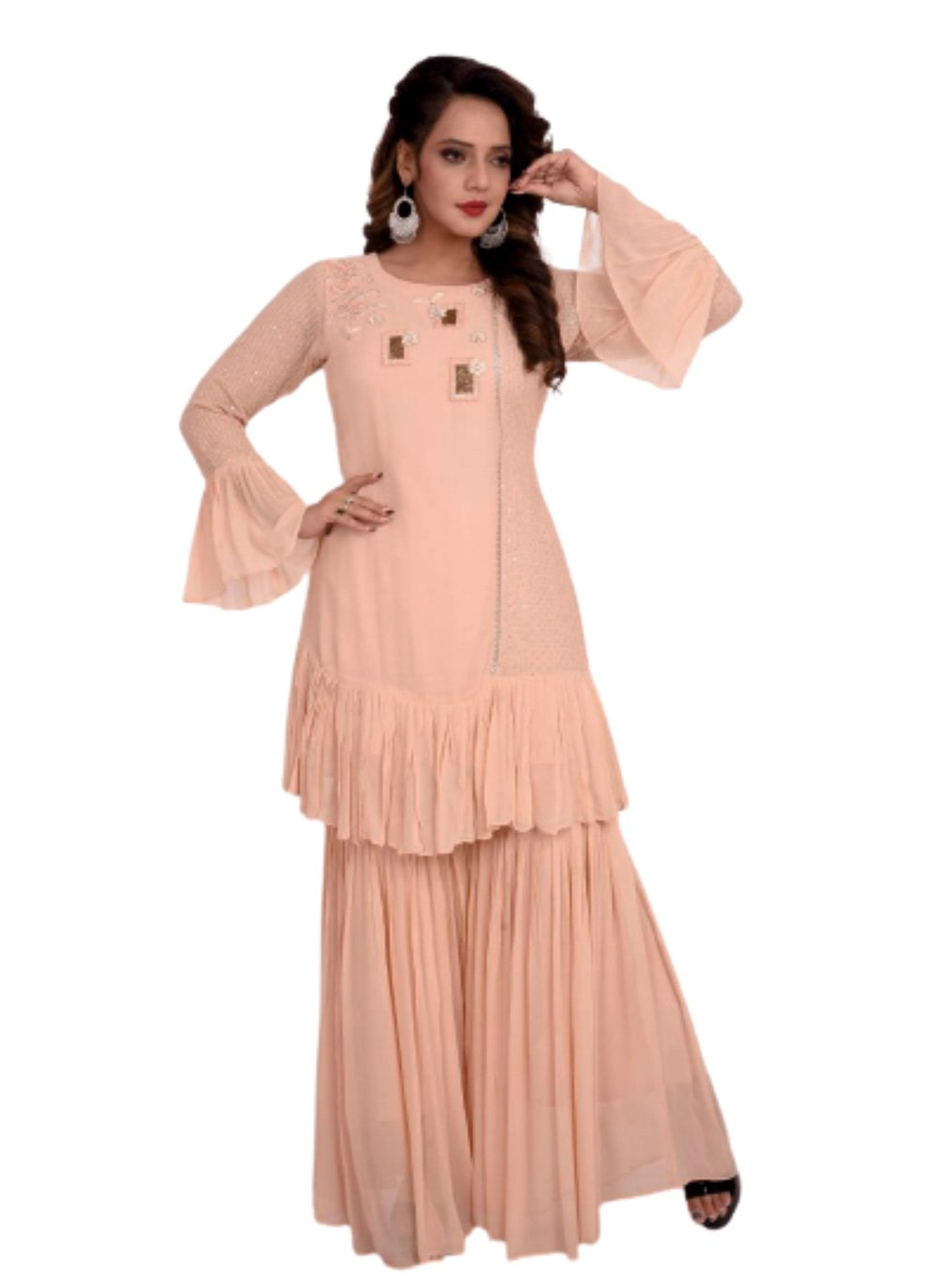 Peach Embroidered Georgette Party Wear Kurti