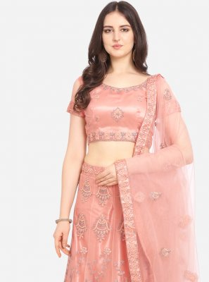 Peach Embroidered Lehenga Choli