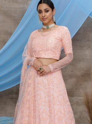 Peach Embroidered Net Lehenga Choli