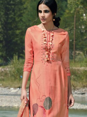 Peach Embroidered Party Trendy Palazzo Suit