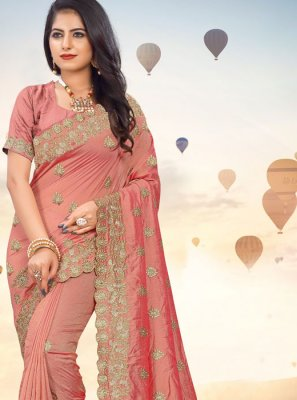 Peach Embroidered Silk Classic Saree