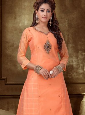 Peach Embroidered Silk Designer Kurti