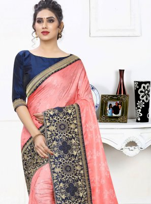 Peach Embroidered Silk Silk Saree