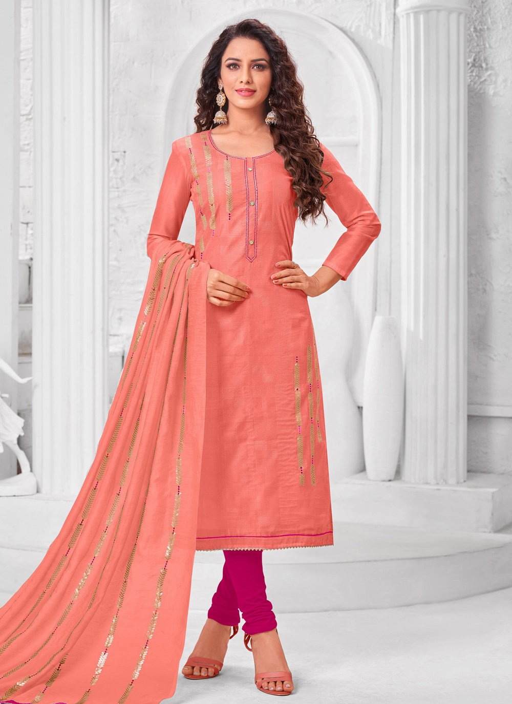 Peach Embroidered Silk Trendy Salwar Suit