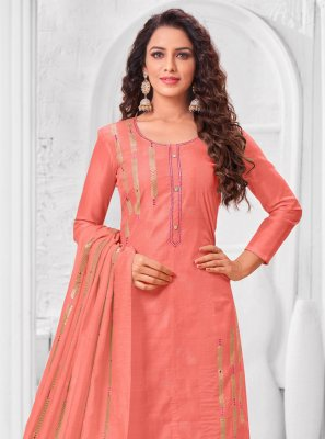 Peach Embroidered Silk Trendy Salwar Suit