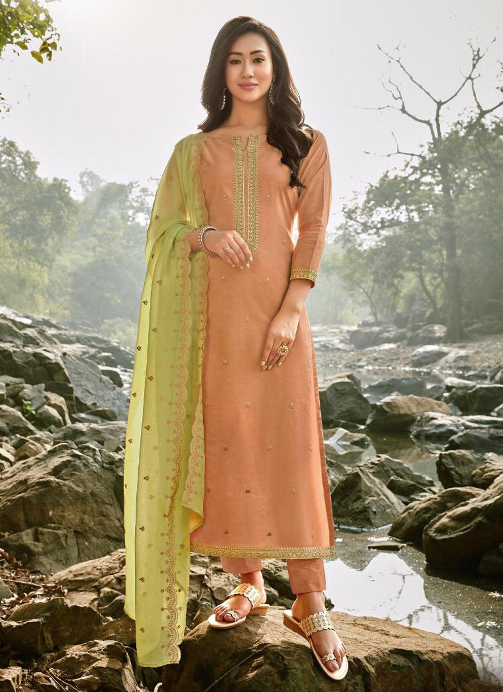 Peach Embroidered Trendy Salwar Suit