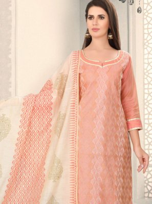 Peach Fancy Chanderi Churidar Designer Suit
