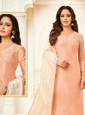 Peach Fancy Churidar Designer Suit