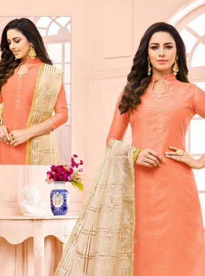 Peach Fancy Designer Straight Suit