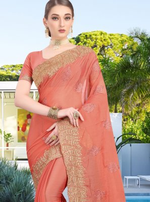 Peach Faux Chiffon Traditional Saree