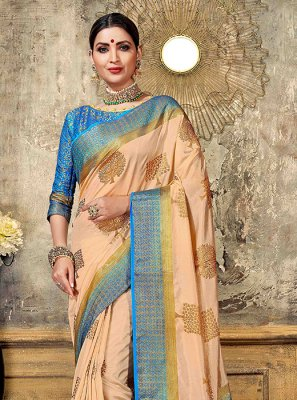 Peach Festival Art Silk Designer Traditional Saree