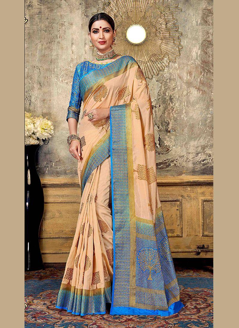 Peach Festival Art Silk Designer Traditional Saree