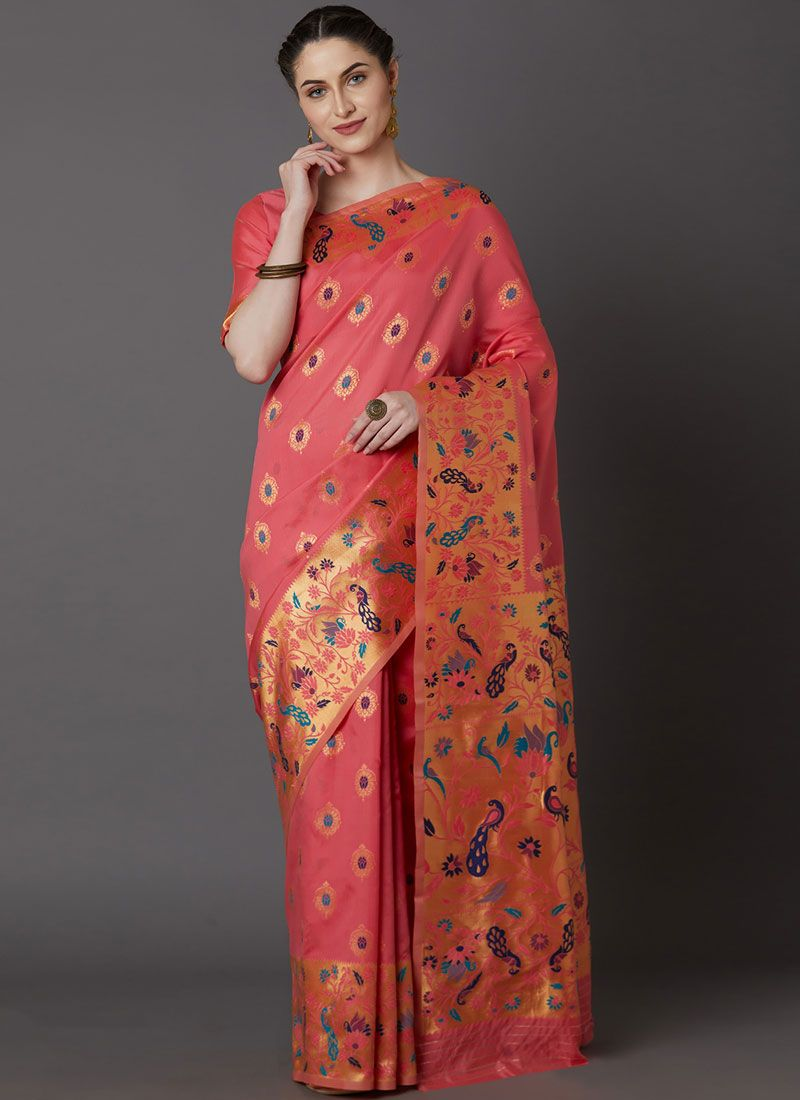 Peach Festival Art Silk Traditional Saree